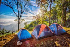 tents overlooking valley