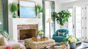 Coastal, green living room with furnishings