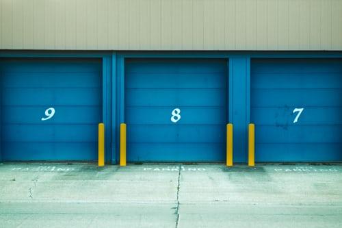 A row of storage lockers