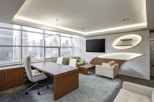 An office with nice furniture