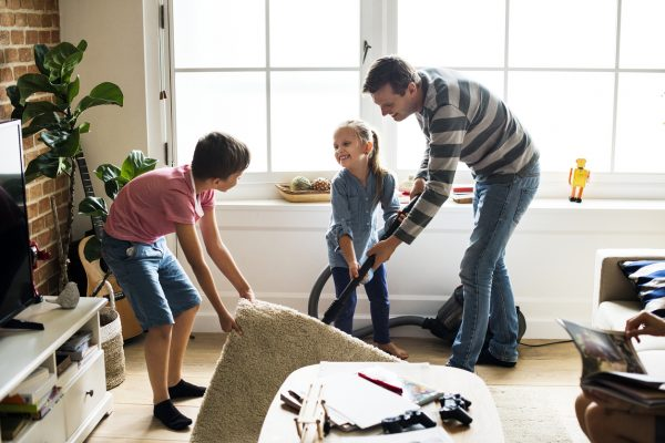 Kids helping dad do house chores