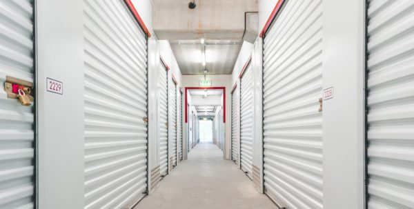 storage units lined up in a hallway