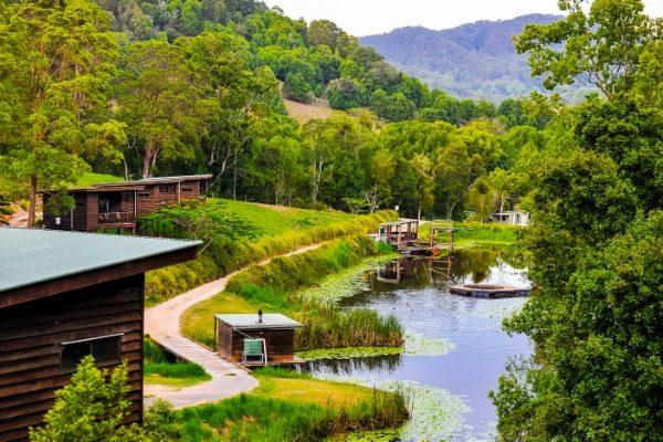 a camp site beside a beautiful lake