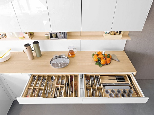 An organised silverware drawer in the kitchen