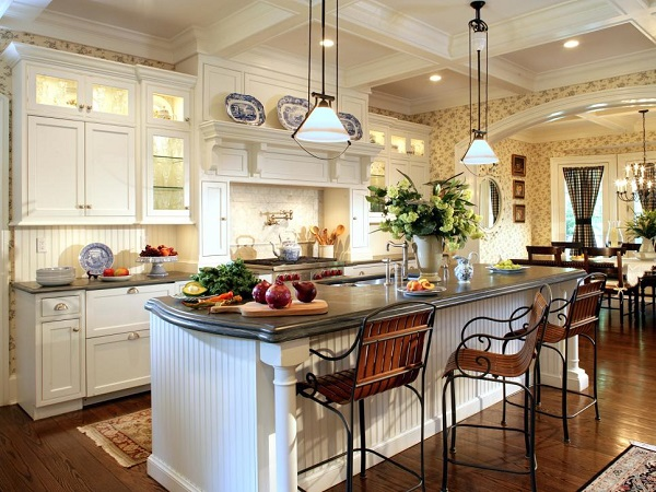 A luxurious kitchen with an island in the center