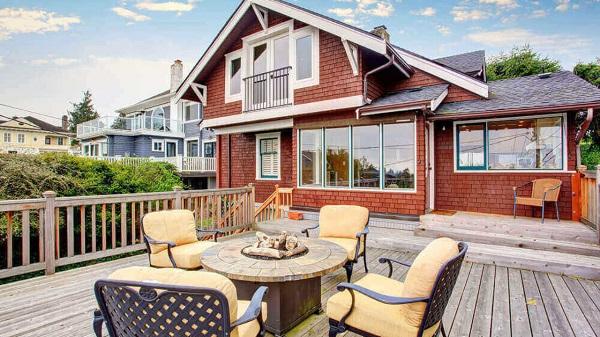 An outdoor deck area
