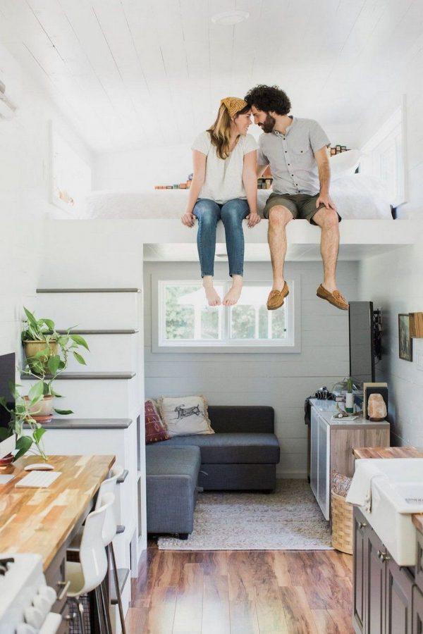 A couple enjoying their apartment